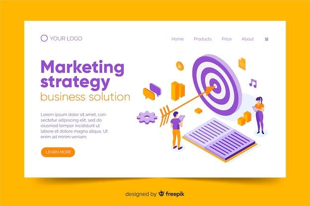 Plantilla de landing page de marketing en isométrico