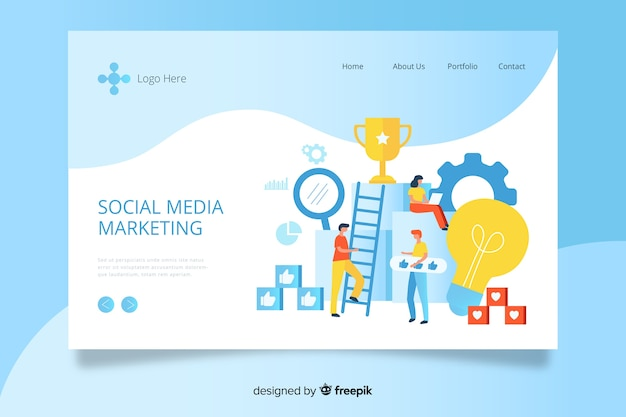 Plantilla de landing page de marketing de redes sociales