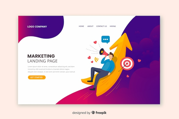 Plantilla de landing page de marketing