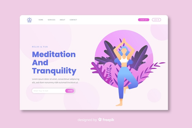 Plantilla de landing page de meditación y relajacion