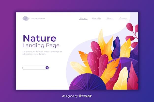 Plantilla de landing page natural con flores