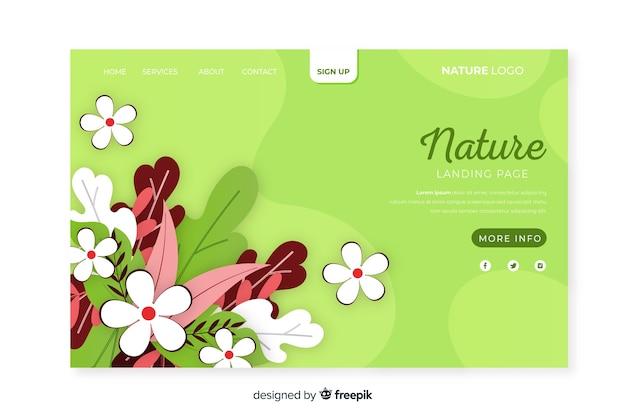 Plantilla de landing page de naturaleza en diseño plano