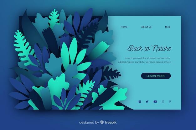 Plantilla de landing page de naturaleza en papel