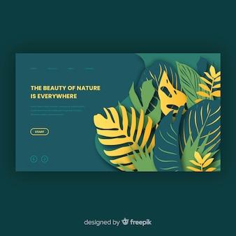 Plantilla de landing page de naturaleza verde