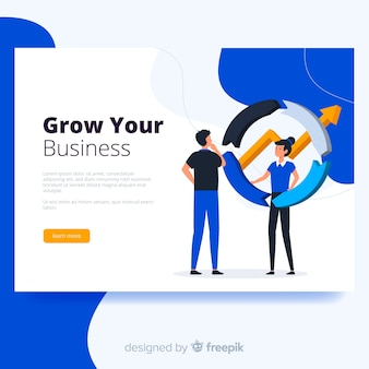 Plantilla de landing page de negocios en diseño plano
