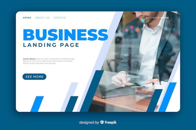 Plantilla de landing page de negocios con foto
