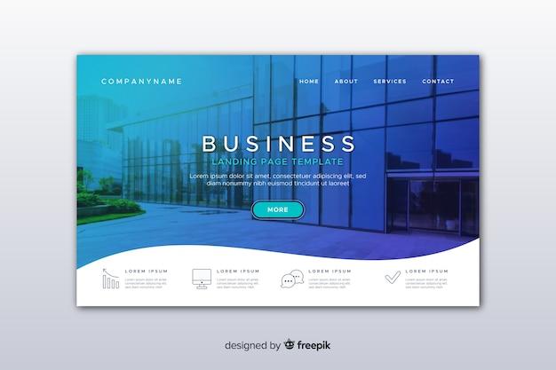 Plantilla de landing page de negocios con imagen