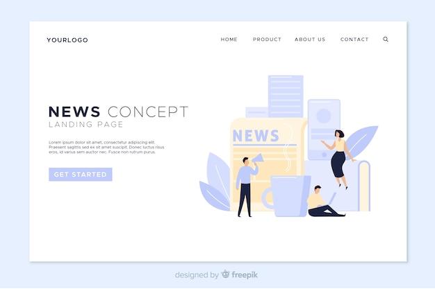Plantilla de landing page de noticias online