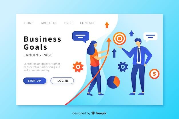 Plantilla de landing page de objetivos de negocios