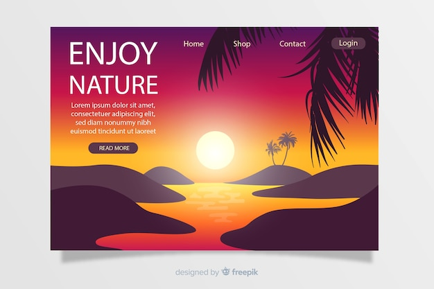 Plantilla de landing page de paisaje natural