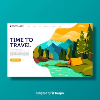 Plantilla de landing page de paisaje de viaje