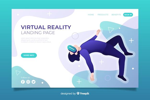 Plantilla de landing page de realidad virtual