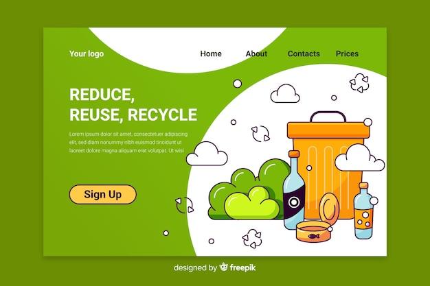 Plantilla de landing page de reciclaje de basura