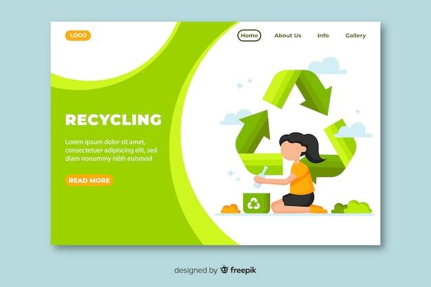 Plantilla de landing page de reciclaje en diseño plano