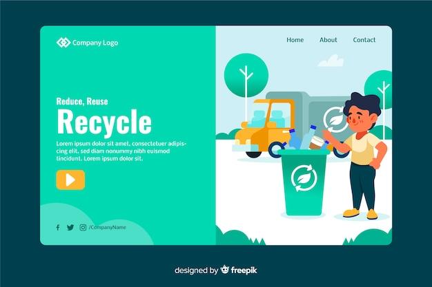 Plantilla de landing page de reciclaje