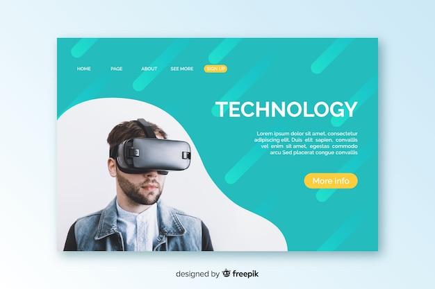 Plantilla de landing page de tecnología con image
