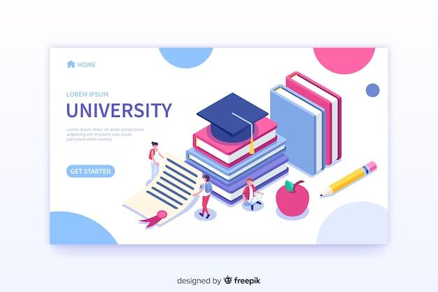 Plantilla de landing page de universidad en isométrico