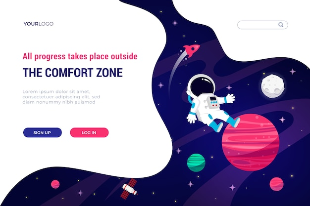 Plantilla de landing page del universo