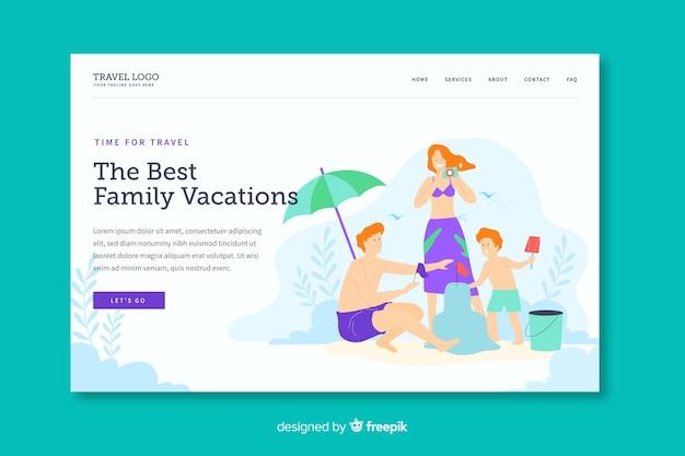 Plantilla de landing page de vacaciones familiares