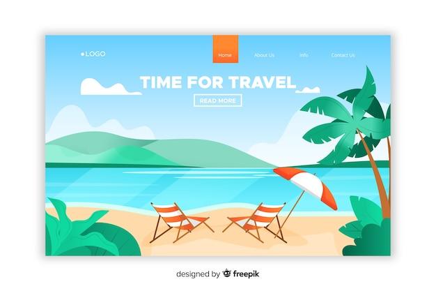 Plantilla de landing page de viaje en diseño plano