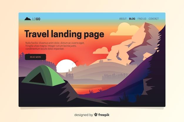 Plantilla de landing page de viaje