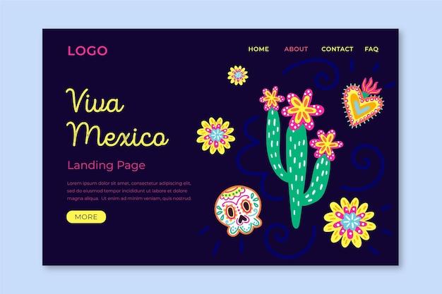 Plantilla de landing page de viva mexico