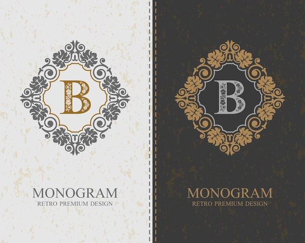Plantilla de letra emblema b, elementos de diseño de monograma, plantilla elegante caligráfica.