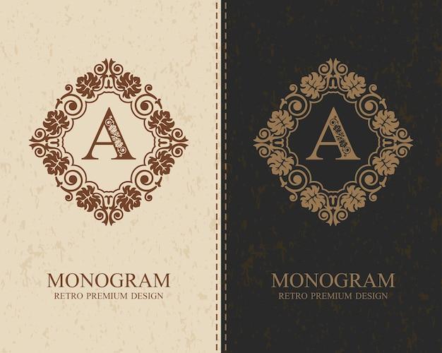 Plantilla de letra emblema a, elementos de diseño de monograma, plantilla elegante caligráfica,