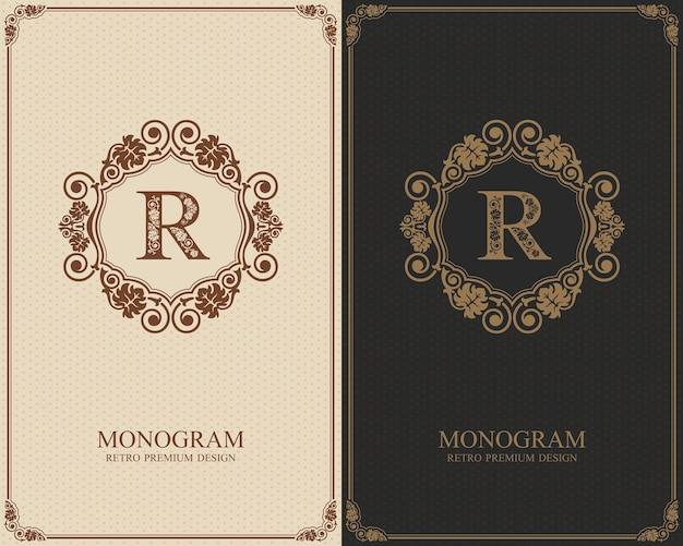 Plantilla de letra emblema r, elementos de diseño de monograma, plantilla elegante caligráfica.