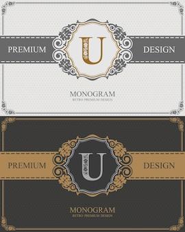Plantilla de letra emblema u, elementos de diseño de monograma, plantilla elegante caligráfica.