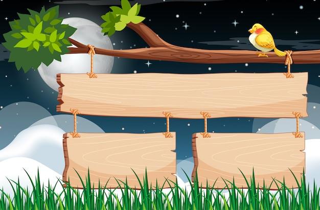 Plantilla de letrero de madera con cielo nocturno