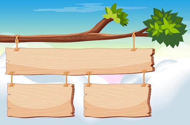 Plantilla de letrero de madera con cielo en