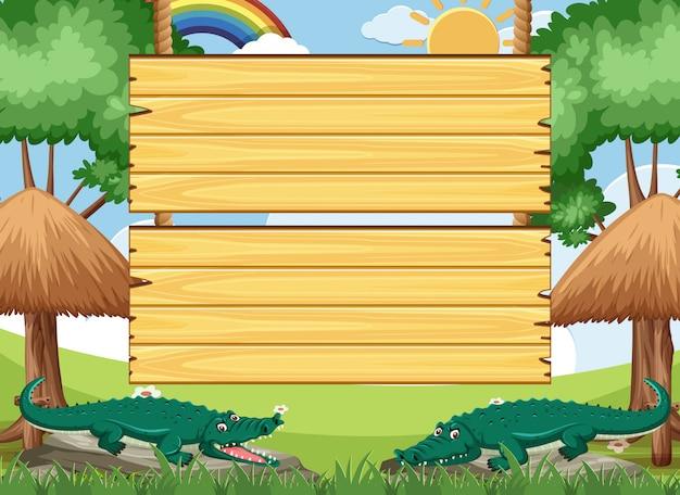 Plantilla de letrero de madera con cocodrilos en el parque