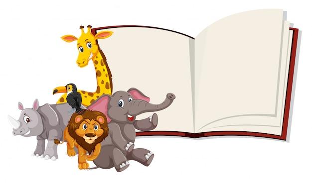 Plantilla de libro abierto de animales salvajes