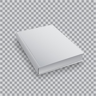 Plantilla de libro en blanco 3d con tapa blanca sobre fondo transparente, vista superior en perspectiva. maqueta realista de libros.