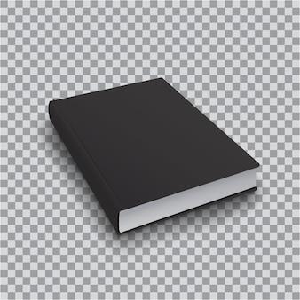 Plantilla de libro en blanco con tapa negra sobre fondo transparente