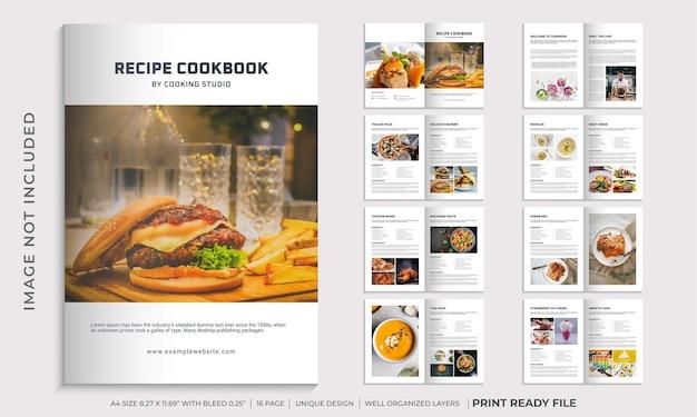 Plantilla de libro de cocina o diseño de plantilla de libro de recetas