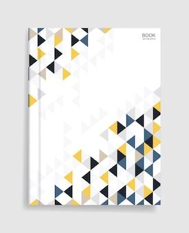 Plantilla de libro de revista con tapa de patrón geométrico colorido y sombra suave.