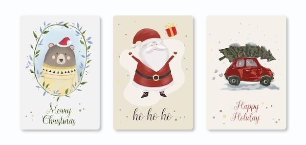 Plantilla de linda ilustración de tarjeta de navidad
