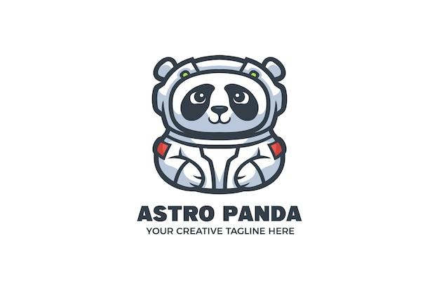 Plantilla linda del logotipo del carácter de la mascota del astronauta de la panda