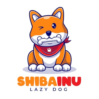 Plantilla linda del logotipo de la historieta de la mascota de shiba inu eat bone