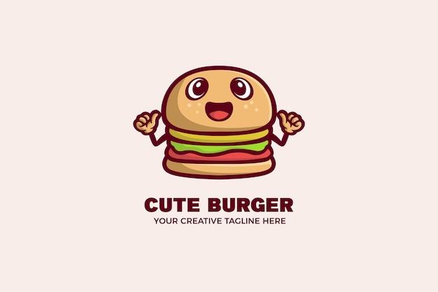 Plantilla linda del logotipo de la mascota de la historieta de la comida de la hamburguesa