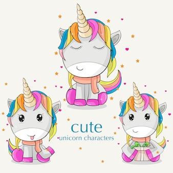Una plantilla linda del unicornio colorido