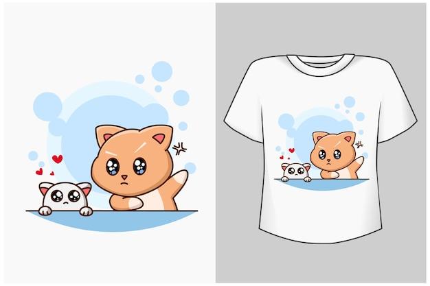 Plantilla lindo gato con pequeño animal de dibujos animados ilustración