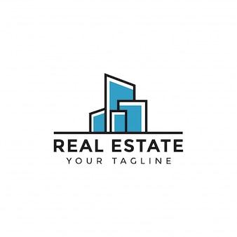 Plantilla de línea abstracta simple colorido logotipo inmobiliario