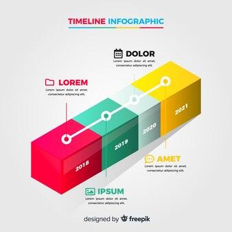 Plantilla línea temporal infografía diseño isométrico