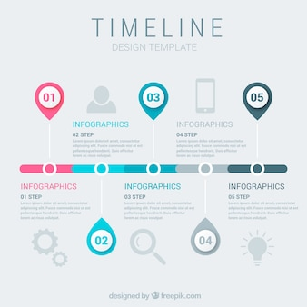 Plantilla de línea temporal de negocios con estilo de infografía