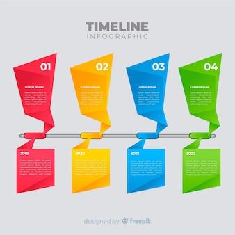 Plantilla de línea de tiempo colorida para infográficos