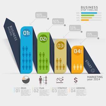 Plantilla de línea de tiempo de flecha de marketing empresarial para diseño de flujo de trabajo, diagrama, opciones numéricas, infografía.