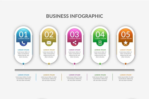 Plantilla de línea de tiempo gradiente infografía